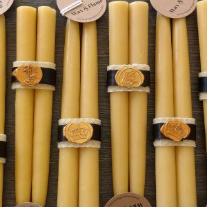 Beeswax candlesticks, taper dinner candles