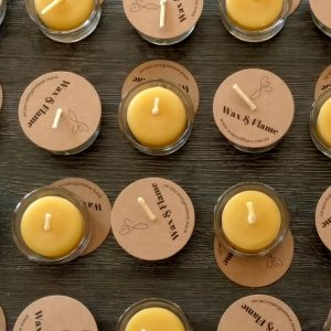 Close up of bulk beeswax tealights