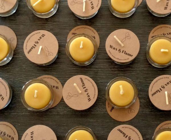 Close up of bulk beeswax tealights